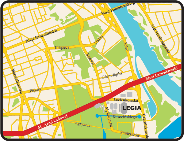 Mapa centrum Warszawy