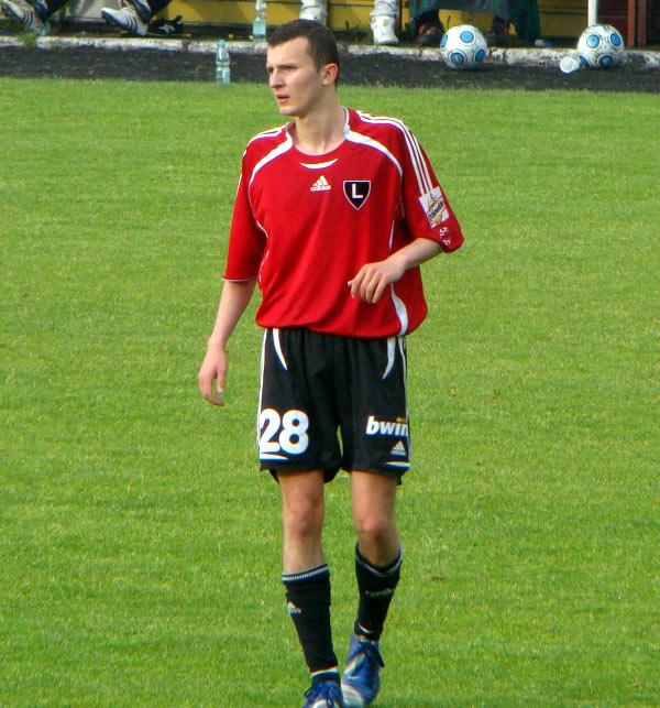 Paweł Bylak, zawodnik Znicza Pruszków, wcześniej Agrykoli, na zdjęciu w stroju Legii Warszawa