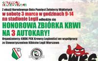 3 marca zbiórka krwi na Legii!